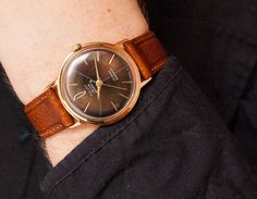 Vintage men's watch Poljot Orbita - gold plated (AU 20) automatic watch - slim Poljot De Luxe automatic. $220.00, via Etsy.