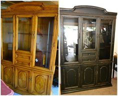 Painted Furniture Ideas: Black and Distressed Buffet and Hutch (#2)