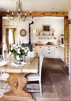 Shabby Chic Dining Room : Rustic Dining Room Shabby Chic Exposed Beams White Interior Home Decor Kitchen Country Home Fashion Over Reason
