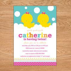 Rubber Ducky Twins Baby Shower Invitation by stockberrystudio