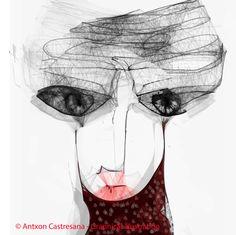 © Antxon Castresana - Graphical illustration lo que quiero VER DE TI SOLO ES TU NUCA NO puedes tocarme NO puedes olerme NO puedes verme.Que puedo hacer,escribir y escucharte.Pero te puedo sentir.