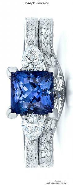 Custom Blue Sapphire and Diamond Wedding Set