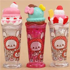 iice cream sundae glitter pencil caps with Little Red Riding Hood rabbit