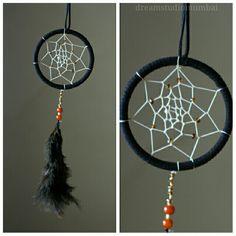 Black n cream dreamcatcher with glass beads..