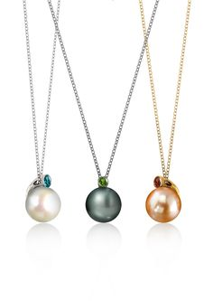 Fei Liu Dawn Pendants: 18K White, Black and Yellow Gold with 9mm Pearl and Coloured Gemstones
