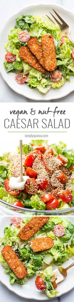 A super simple vegan caesar salad recipe made with a cashew-less dressing and served with smoky baked tempeh strips and toasted quinoa for added crunch.
