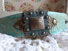 Hand Painted TURQUOISE Western Leather & by BellaNotteDesigns