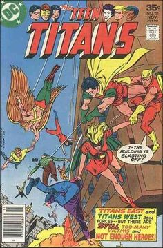 the first Batgirl (Bette Kane) with Robin (II), Speedy (II), Golden Eagle, Teen Titans