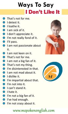 Ways To Say I Don't Like It, English Phrases Examples - Lessons For English