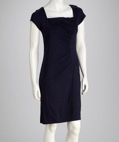 Take a look at this French Navy Ruched Square Neck Dress by Survival on #zulily today!