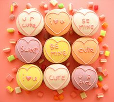 Valentines day love heart cupcakes - why not Bake Aware by writing sexual health facts on them?