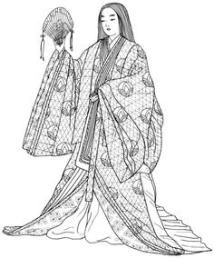 ASHIKAGA PERIOD: formally dressed lady, 12 lightweight silk robes, each a different shade