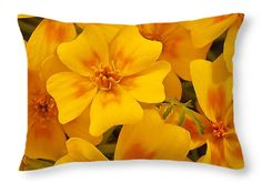 "Tagette Marigold Blossoms Macro Throw Pillow 20"" x 14"""