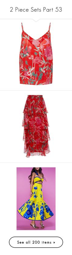 """""""2 Piece Sets Part 53"""" by leanne-mcclean ❤ liked on Polyvore featuring tops, red camisole, red cami, camisole tops, v neck cami top, v-neck top, skirts, floral print skirt, tiered skirts and flower print skirt"""