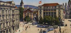 Der Paradeplatz auf einer kolorierten Fotografie (1910)