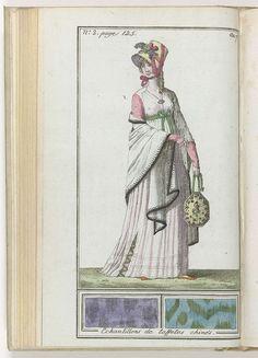Le Mois, Journal historique, littéraire et critique, avec figures, Tome 1, No. 2, page 125, An.7 (1798-1799): Echantillons de taffetas chinés, anoniem, 1798 - 1799