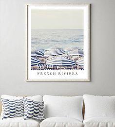 French Riviera print Beach Umbrella Print Large wall print | Etsy White Umbrella, Beach Umbrella, Large Wall Prints, Framed Prints, Nautical Home, Beach Print, Canvas Paper, French Riviera, White Decor