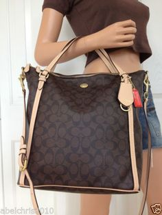 NWT COACH BROWN SIGNATURE LEATHER CROSSBODY SHOULDER TOTE BAG PURSE