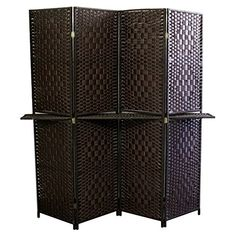 awesome Ore International Paper Straw Weave 4 Panel Screen with One 63 in. Shelving - Espresso Brown