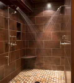 Double Shower Design Ideas, Pictures, Remodel and Decor Dream Bathrooms, Beautiful Bathrooms, Modern Bathroom, Master Bathroom, Master Shower, Modern Shower, Bathroom Ideas, Bathroom Makeovers, Brown Bathroom