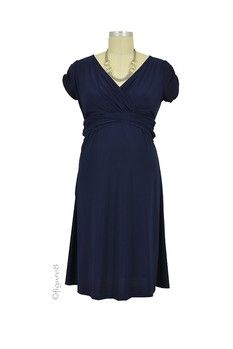 Hillary Luxe Jersey Nursing Dress in Navy by Japanese Weekend with free shipping