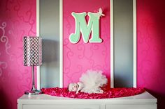mint green and hot pink baby nursery