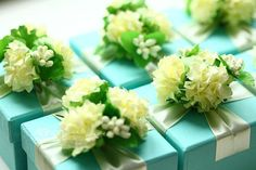 Blue Wedding Favor Candy Box DIY Party Paper by sweetywedding