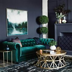 When you often receive guests in your living room and want to impress them, don't stop right there. You can decorate your signature living room design Art Deco Living Room, Home Living Room, Living Room Designs, Interiores Art Deco, Green Home Decor, Room Colors, Bedroom Decor, Interior Design, Dark Interiors