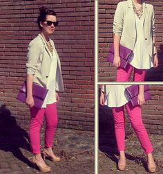 pink pants, cream or white top, nude or blush ...