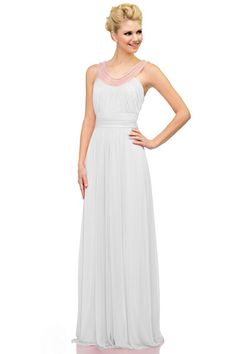 LONG BRIDESMAID DRESS WITH BEADED NECKLINE IN IVORY