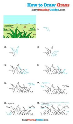 How to Draw Grass – Really Easy Drawing Tutorial Learn to draw grass. This step-by-step tutorial makes it easy. Kids and beginners alike can now draw great looking grass. Drawing Videos For Kids, Drawing Tutorials For Kids, Pencil Drawing Tutorials, Art Drawings For Kids, Drawing Lessons, Doodle Drawings, Drawing Techniques, Drawing Tips, Easy Drawings