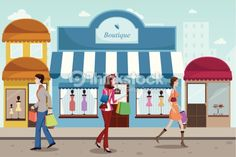 Arte vectorial : People shopping in an outdoor mall with French boutique style