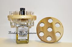 Circular shot glass holder, holds 6 shot glasses.https://www.facebook.com/trinketboxtreausres