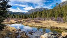Góry, Rzeka, Las, Drzewa, Kamienie, Chmury