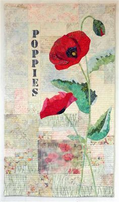 Red Poppies. Art quilt by Eileen Williams