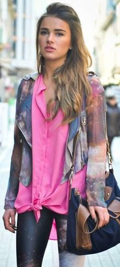 @roressclothes clothing ideas #women fashion street style pink space print jacket