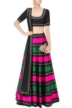 Black Raw Silk Striped Lehenga Set #Lehenga #Black #Multicolor #Striped…