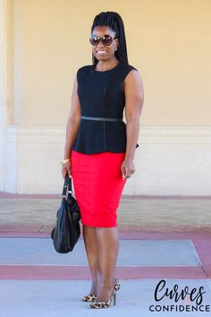 Curves and Confidence: F21 Lace Peplum and Express Pencil Skirt