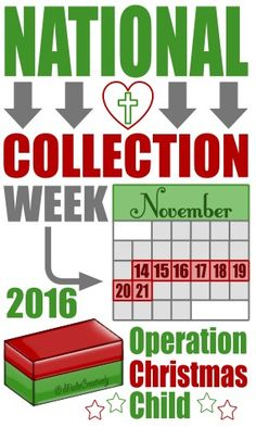 Operation Christmas Child Collection Week is November 14-21, 2016!