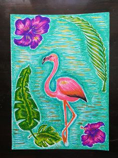 Flamingo art by me Markers and acrylic gold