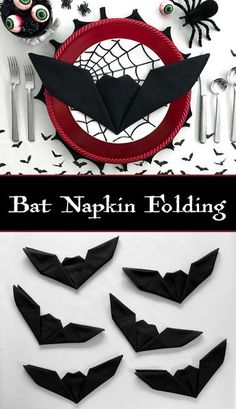 Bat Napkin Folding - Batman Decoration - Ideas of Batman Decoration - Get creative with your Halloween place settings! These fun bat napkins are a cinch and take less than one minute to fold. No need to be an origami expert to master this technique. Happy Halloween, Table Halloween, Halloween Tags, Halloween Dinner, Halloween Snacks, Halloween Projects, Halloween 2018, Holidays Halloween, Halloween Themes