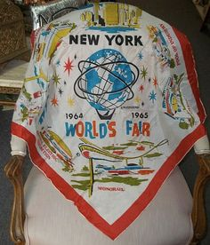 Vintage 1964-65 New York World's Fair Scarf..would love to do something cool with this..
