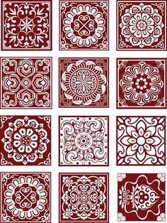 Traditional paper cutting patterns vector set