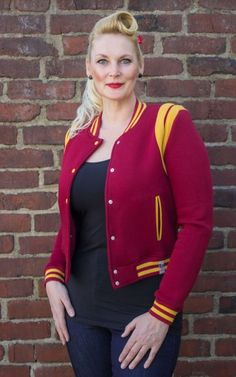 Sweat College Jacket with Leo Patch | 50s Rockabella Style