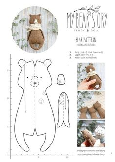 MY BEAR STORY Sewing Toys, Sewing Crafts, Felt Crafts, Fabric Crafts, Tilda Toy, Fabric Toys, Toy Craft, Sewing Projects For Beginners, Felt Toys