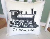 Train pillow shabby chic farmhouse decor by