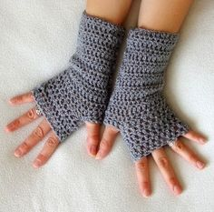 Grey crochet fingerless gloves