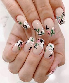 May 2020 - spring nails, spring nail trends, spring nail art , spring nail ideas mismatched nail colors Nail Art Designs, Flower Nail Designs, Simple Nail Designs, Nails Design, Nail Designs Floral, Cute Acrylic Nails, Cute Nails, Pretty Nails, Spring Nail Trends