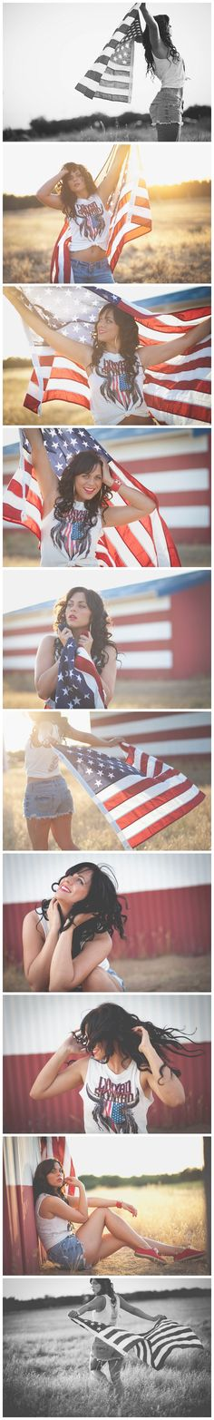 Erica Houck Photography flag patriotic american girl senior creative shoot session photoshoot model fashion usa america