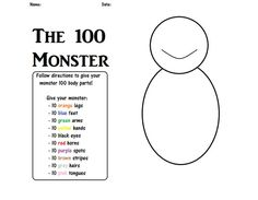 Day of School - 100 monster - 100 Days of School 💯 100th Day Of School Crafts, 100 Day Of School Project, First Day Of School, School Projects, School Ideas, 100 Days Of School Centers, 100s Day, 100 Day Celebration, Hundred Days